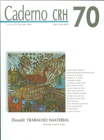 Visualizar v. 27 n. 70 (2014): V. 27, Nº 70, Jan./Abr. 2014. DOSSIÊ: Trabalho Imaterial. Coord. Henrique Amorim
