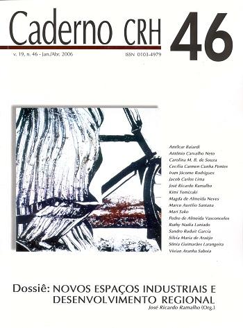 Visualizar v. 19 n. 46 (2006): DOSSIÊ: Novos Espaços Industriais e Desenvolvimento Regional - Coord. José Ricardo Ramalho (Org.)